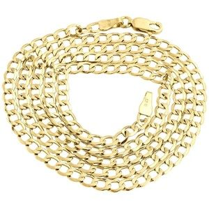 "10K Gold Cuban Link Chain 24"" Solid Real Gold NEW"
