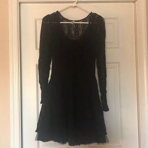 free people long sleeve lace mini dress