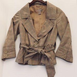 H&M Belted Plaid Coat SZ 4