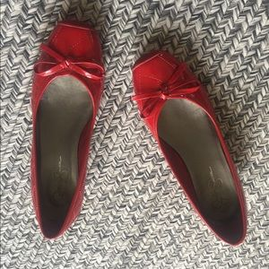 Jessica Simpson Red P. Leather Wedge Ballet Flats