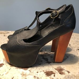 Jeffrey Campbell Foxy Leather Platform Black Sz 8