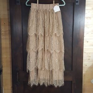 Dainty Jewell's Lace Ruffled Maxi Skirt NWT