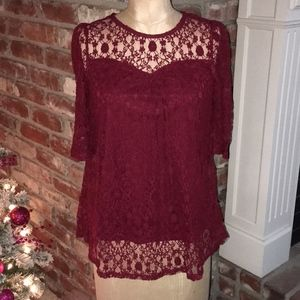 Monteau Maroon/Burgundy Lace 3/4 Sleeve Blouse