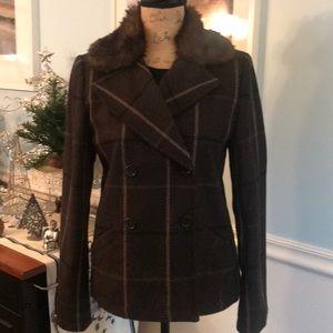 Stylish banana republic blazer jacket w/ faux fur