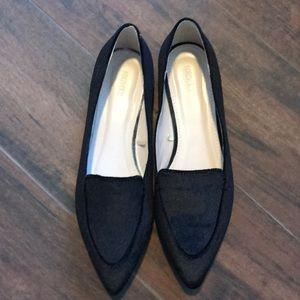 Black Velvet Loafer Flats
