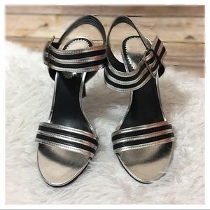 NWOB ALDO Silver and Black Striped Sandal Heels