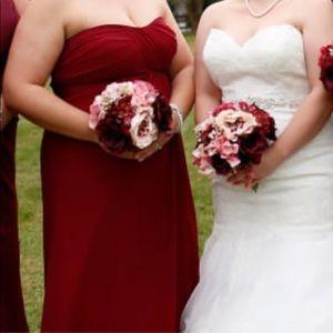 Wine/ candy apple bridesmaids dress