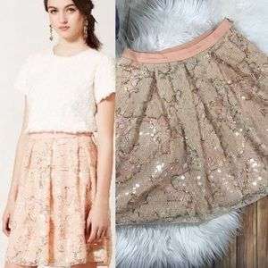 Anthro Eva Franco pink and gold sequin skirt