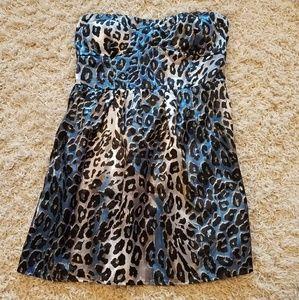 Strapless animal print mini dress