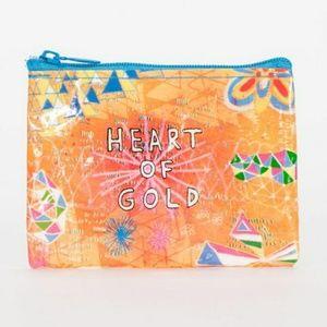 """NWT Blue Q Coin Purse 💛 """"Heart of Gold"""""""