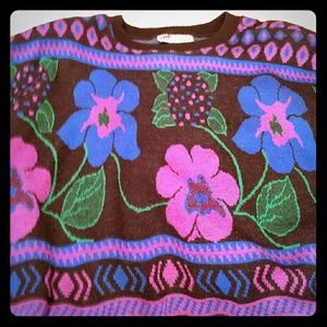 Vintage 80s Oversized Bright Flower Power Sweater