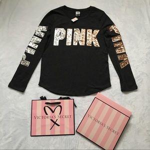 NWT Pink VS Bling Tee