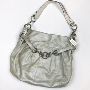Coach silver metallic pleated hobo purse
