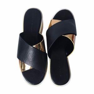 ZARA -  Black & Gold Platform Clogs