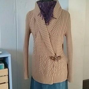 Ralph Lauren Camel Cable Knit Cardigan