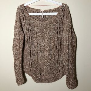 Free people cable knit crew neck sweater
