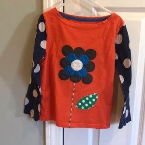 Girls Mini Boden flower appliqué shirt sz 6-7