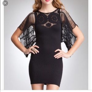 Bebe crochet sleeve lace  neck dress