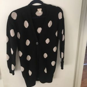 Super cozy black and while l polka dot cardigan