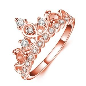 Rose Gold or Silver Austrian Crystal Princess Ring