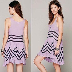 FP oile & Lace Trim Trapeze Tunic Lilac Slip Dress
