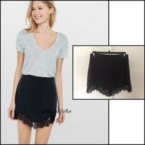 NWOT Express Charcoal Lace Hem Mini Skirt Size M