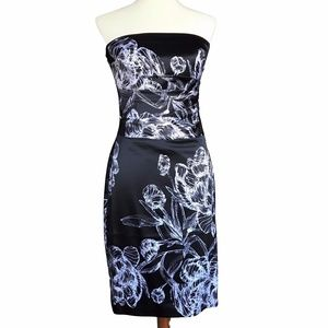 NWT WHBM Strapless Black Floral Cocktail Dress
