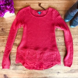 Lucky Brand Red Christmas Sweater Knit Lace Sz S