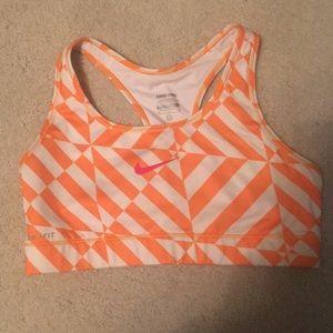 Nike Sport Bra - Orange and White Size Medium