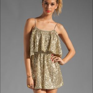 Lovers and Friends Gold Sequin Short Dress