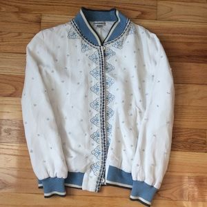 Anthroplogie Arabella Embroidered Bomber Jacket