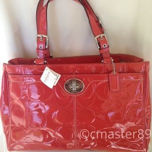 Coach Rose Patent Leather Hampton Shoulder Bag