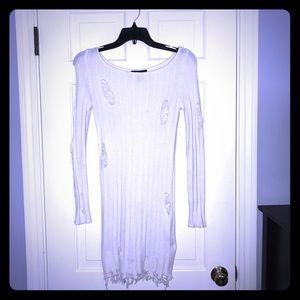 Distressed White Sweater Tunic
