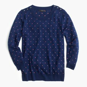 J. Crew Tippi Sweater in Navy/Orange Polka-Dot