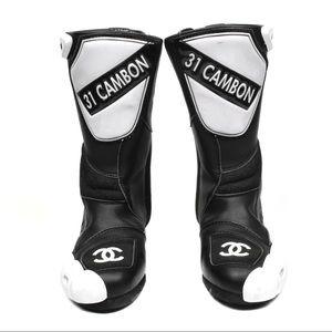 Gently used like new Chanel motor cross  Boots 8