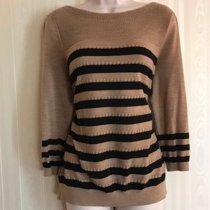 LOFT tan and black striped sweater RARELY WORN