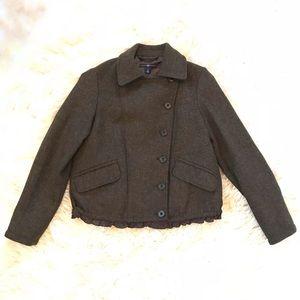 GAP Brown Tweed Wool Jacket W/ Ruffle Detail
