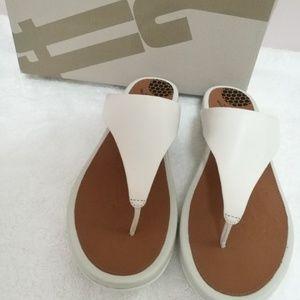NIB Fitflop Banda urban white leather sandals 8
