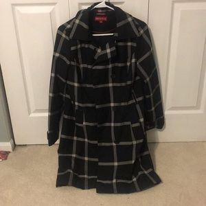 Black Trench Coat with White stripes. Size Medium