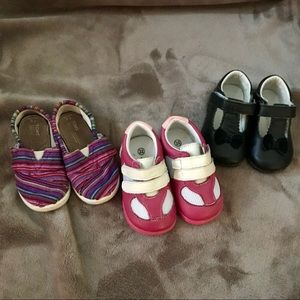 Three pairs of size 6 toddler shoes