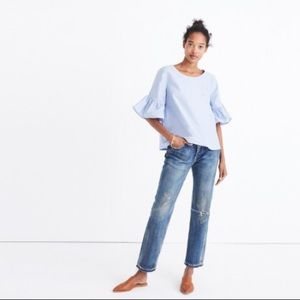NEW madewell ruffle sleeve flow blouse Alexa Chung