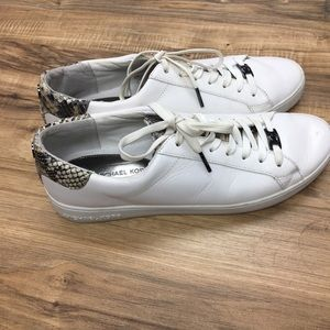 Michael Kors White Leather/Snakeskin Sneakers SZ11