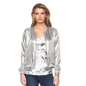 Juicy Couture Shine Silver Bomber Jacket, sz. L