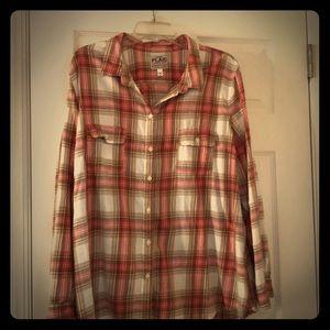 Plaid double pocket button down shirt.