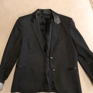 Grey Zara Blazer with Leather Collar