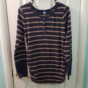 Old Navy navy tan waffle knit maternity top
