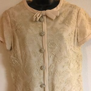 Vintage 60s Lace Shift Dress Round Crystal Buttons