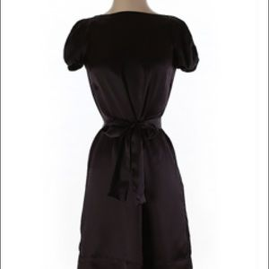 French Connection brown silk dress with bow sash