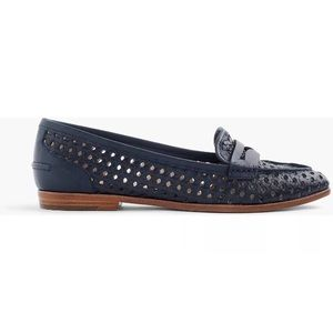 J Crew Leather Woven Navy Loafers Collins 8