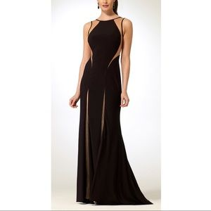 Black + Nude Paneled Gown